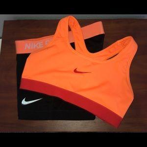 Women's Nike Sports Bra and Spandex Bundle